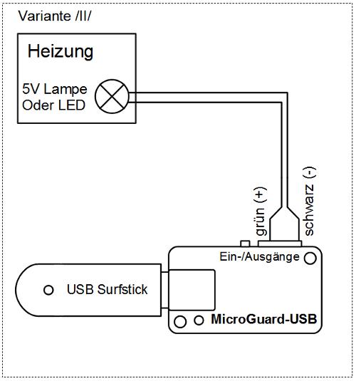 Beschaltung von MicroGuard zur Überwachung von Heizanlagen mit LED