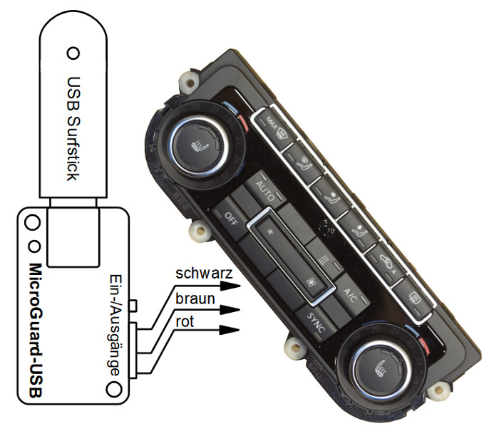 MicroGuard-USB Fernbedienung für Standheizung VW Bedienelement 5K0907044GM