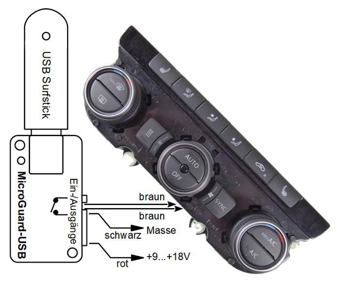 MicroGuard-USB Fernbedienung für Standheizung VW Passat B8 1K8 907 044C