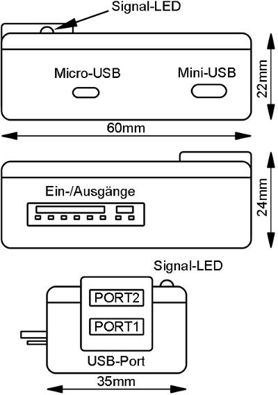 Aufbau des MicroGuard-USB Steuermoduls